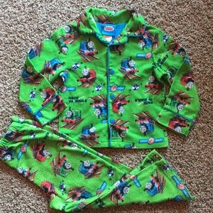 Thomas & Friends green button up Fleece PJs